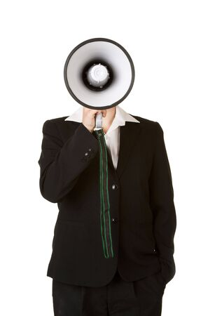 young business woman with megaphone isolated on white background photo