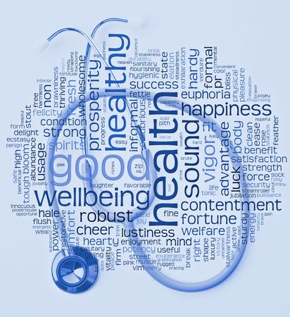 health healthy and wellbeing word or tag cloud with stethscope in hospital blue tones Stock Photo - 7071738