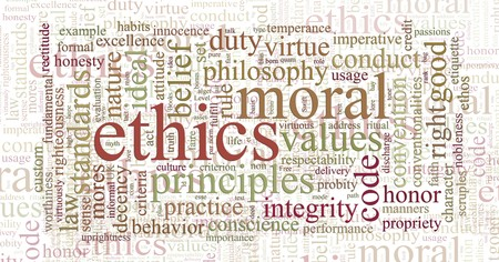 ethics and morals: word or tag cloud of ethics morals and values words