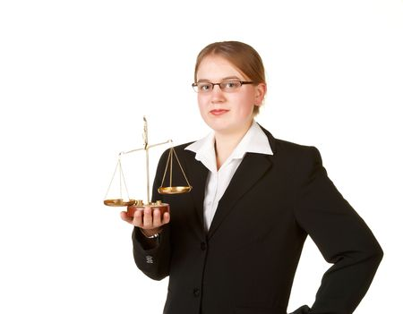 young business woman isolated on white background with justice scales photo