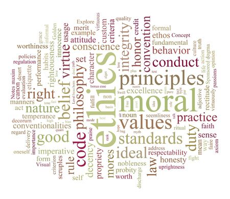 principles: ethics and morales word or tag cloud