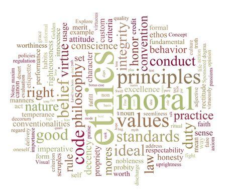 nuage de mots ou de balise éthique et morales