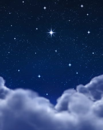 night sky and stars: single bright wishing star in space or night sky Stock Photo
