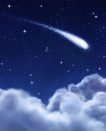 wish: shooting star in the dark night sky Stock Photo