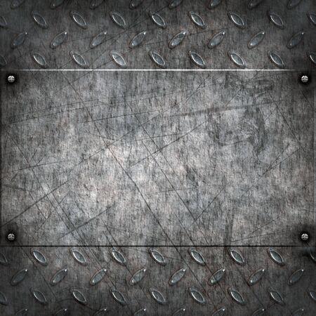oxidado: antiguo diamante sucio y grungy placa de metal fondo