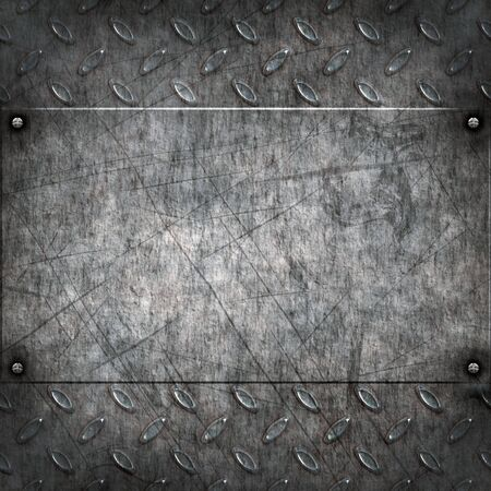 metal plate: old dirty and grungy diamond plate metal background