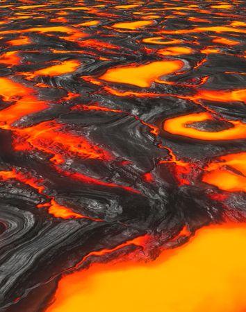 uitbarsting: een grote achtergrond afbeelding van gesmolten lava