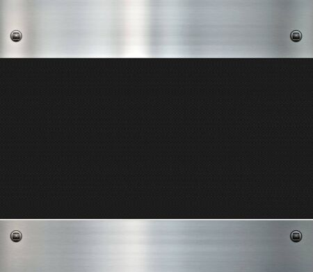 carbon steel: image of a shiny brushed metal background and carbon fibre Stock Photo