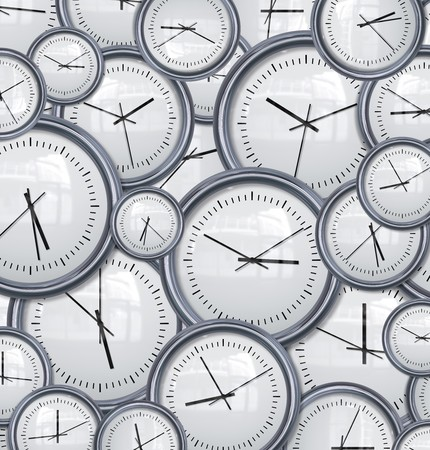 deadline: lots and lots clocks for a great time background Stock Photo
