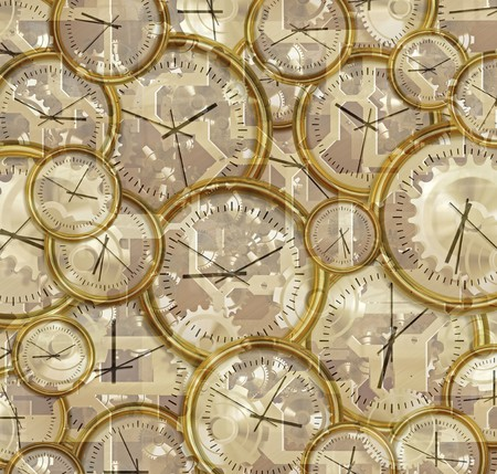 timepieces: abstract illustration of clocks, clockwork, gears and cogs Stock Photo