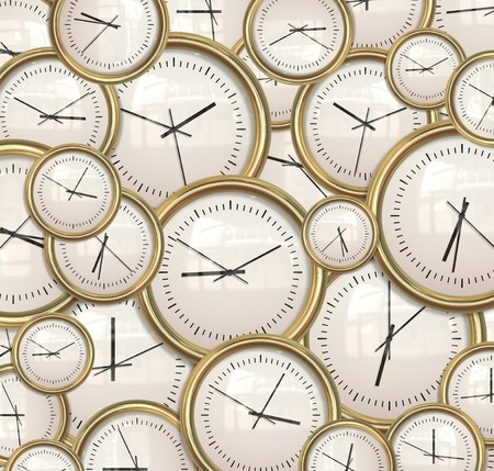 lots of: lots and lots clocks for a great time background Stock Photo