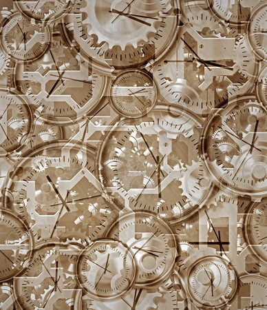 time gone by brown sepia abstract of clocks and clockwork photo