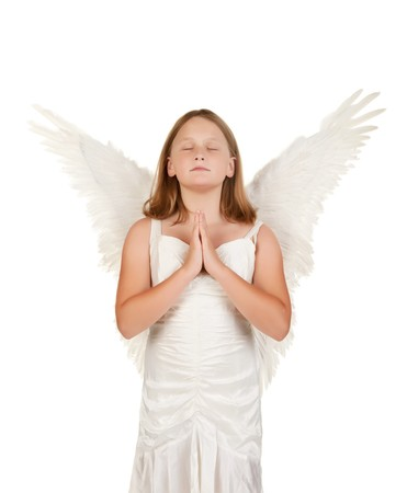 child praying: little young angel girl child praying isolated on white