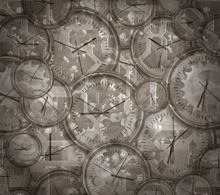 timepieces: vintage style image of clocks and gears and cogs