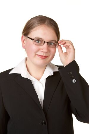 young business woman adjusting glasses isolated white background photo