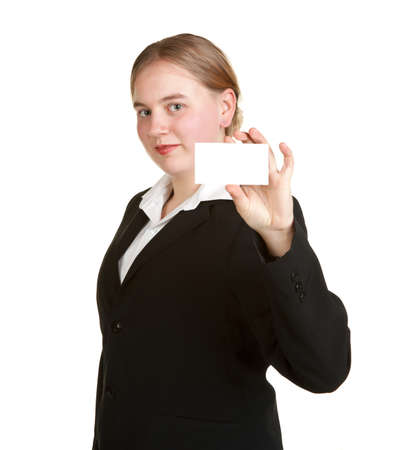 young business woman holding card isolated white background photo