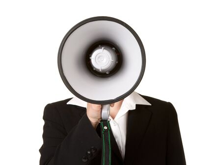 young business woman with megaphone isolated white background photo