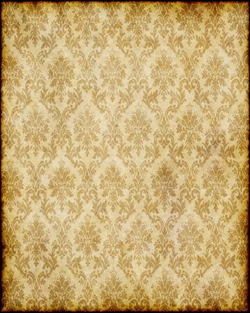 antique: old worn damask parchment paper background texture image