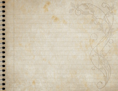 lined: image of an old  book of lined paper with floral design