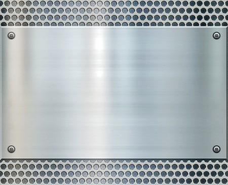 shiny metal plate on holed aluminium background Stock Photo - 7384624