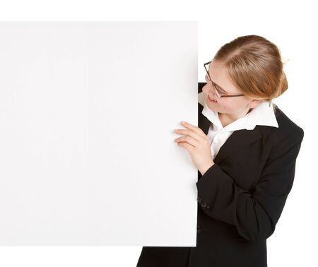 young business woman with sign board isolated on white background photo