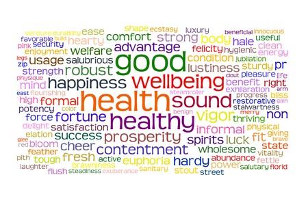 buena salud: buena salud y el bienestar etiqueta o palabra nube