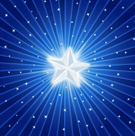 wishing: bright shining star in a colourful starburst