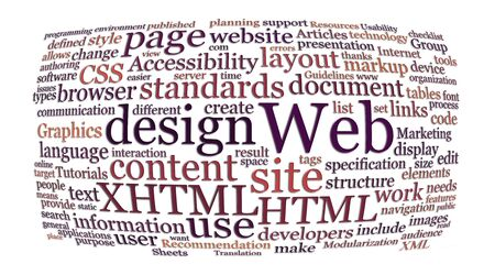 xhtml: web and website design word or tag cloud