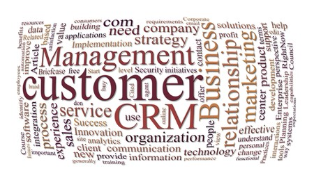 crm customer relations management and marketing word cloud Stock Photo - 7828962