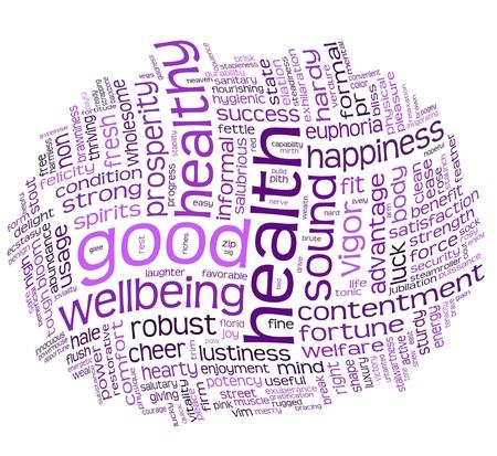 buena salud y el bienestar etiqueta o palabra nube Foto de archivo