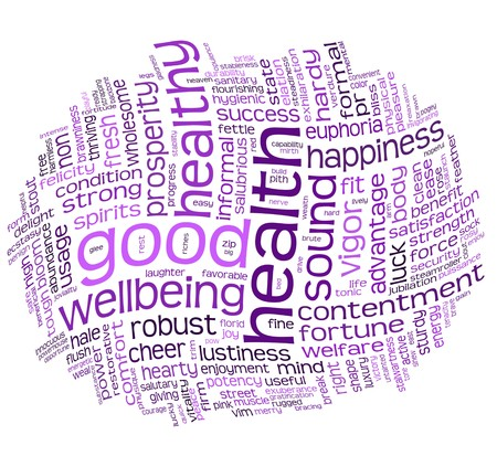 wellbeing: good health and wellbeing tag or word cloud Stock Photo