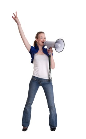 young woman with a megaphone or bullhorn isolated on white Stock Photo - 7828948