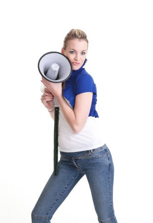 young woman with a megaphone or bullhorn isolated on white Stock Photo - 7828943