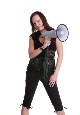 pretty young woman with megaphone isolated on white photo