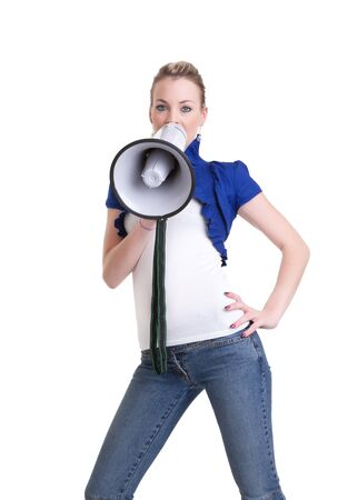 pretty young woman with megaphone isolated on white Stock Photo - 7828993