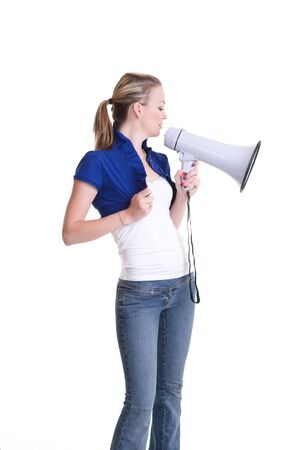 pretty young woman with megaphone isolated on white Stock Photo - 7828990