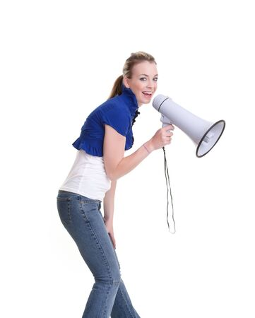 pretty young woman with megaphone isolated on white Stock Photo - 7829029
