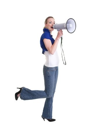 young woman with bullhorn isolated on white background photo