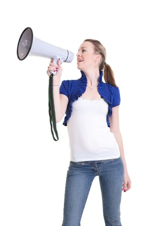 young woman with bullhorn isolated on white background Stock Photo - 7829086