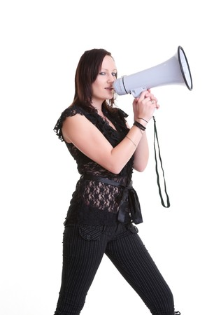 pretty young woman with megaphone isolated on white Stock Photo - 7941473