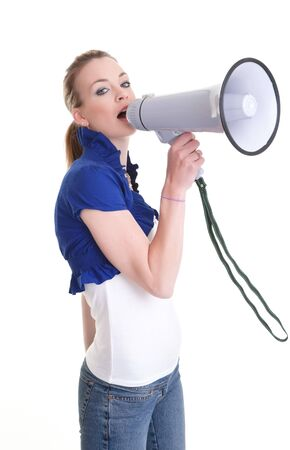 pretty young woman with megaphone isolated on white Stock Photo - 7941470