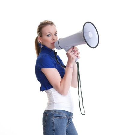 pretty young woman with megaphone isolated on white Stock Photo - 8041483
