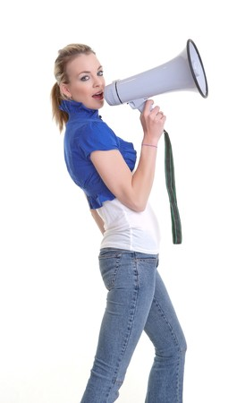 young woman with a megaphone or bullhorn isolated on white Stock Photo - 8263307