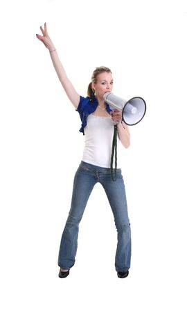 young woman with a megaphone or bullhorn isolated on white Stock Photo - 8379420