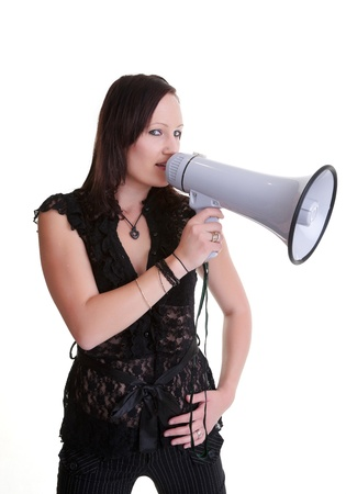young woman with a megaphone or bullhorn isolated on white Stock Photo - 8434048
