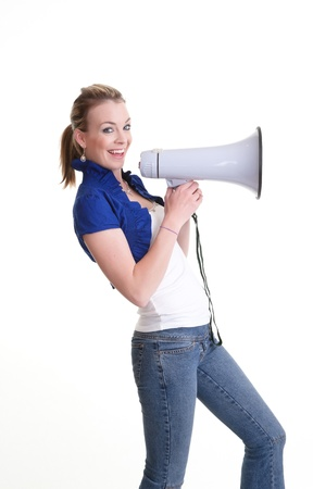 pretty young woman with megaphone isolated on white Stock Photo - 8434041