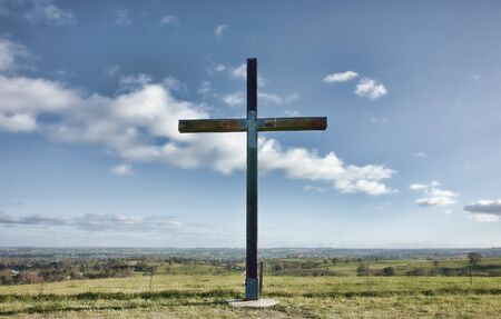 image of a christian cross of christ in a field Stock Photo - 8873242