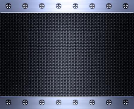 acier bross�?: image de la fibre de carbone incrust� dans le cadre en acier bross� Banque d'images
