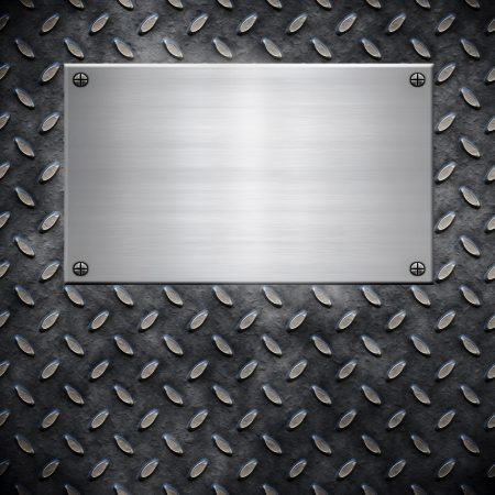 metal sign: old dirty and grungy diamond plate metal background