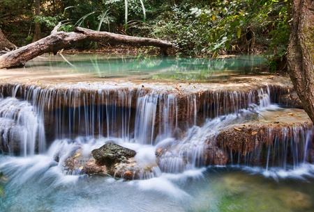 river: beautiful waterfall cascades in erawan kanachanburi thailand
